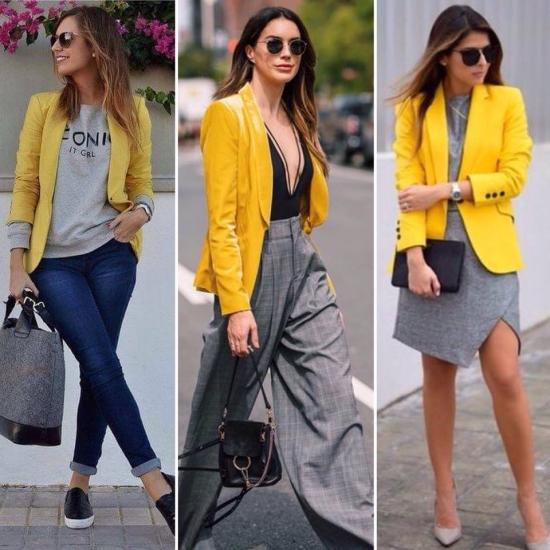 Жовтий піджак, сірий светр, сукня