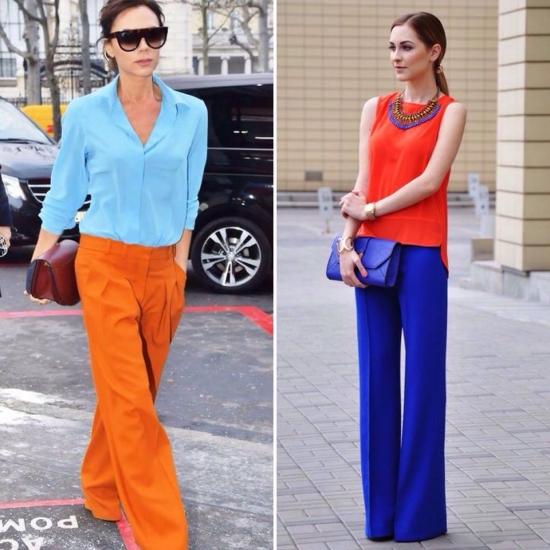 Синя блузка, помаранчевий колір, стиль