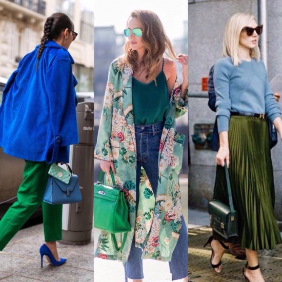 Одяг, жіночий образ, синій колір, зелений колір