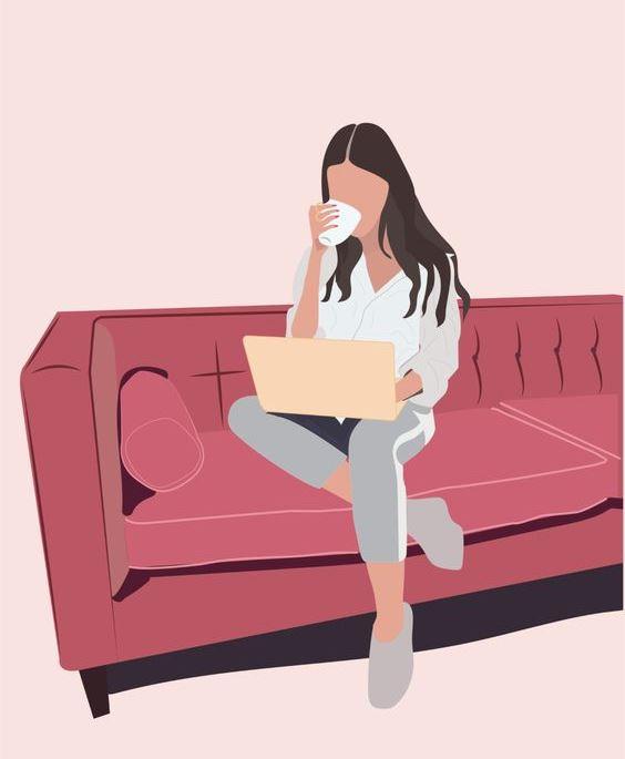 Дівчина, ноутбук, канапа