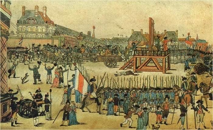 Страта на гільйотині, Французька революція