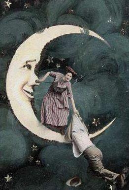Падіння з Місяця, вінтажна листівка